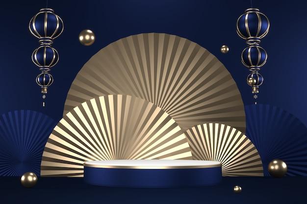 Le design en or hexagonal de granit sur fond bleu foncé est minimal. rendu 3d