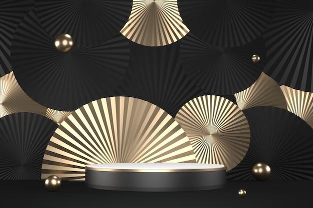Le design en or hexagonal de granit sur fond noir minimal. rendu 3d