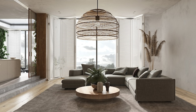 Design scandinave intérieur moderne minimaliste. salon de studio beige. grand canapé modulable design léger, tapis, fauteuil, lampe en bois, plantes vertes, herbe sèche, déco. rendu 3d. illustration 3d.