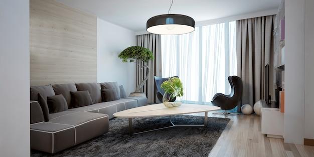 Design spacieux et lumineux du salon moderne.