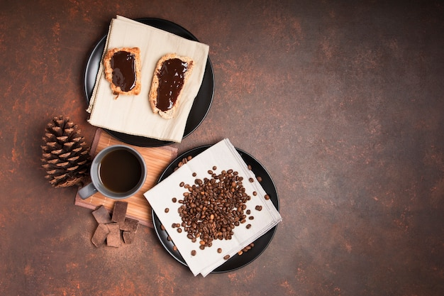 Dessert au chocolat avec espace de copie