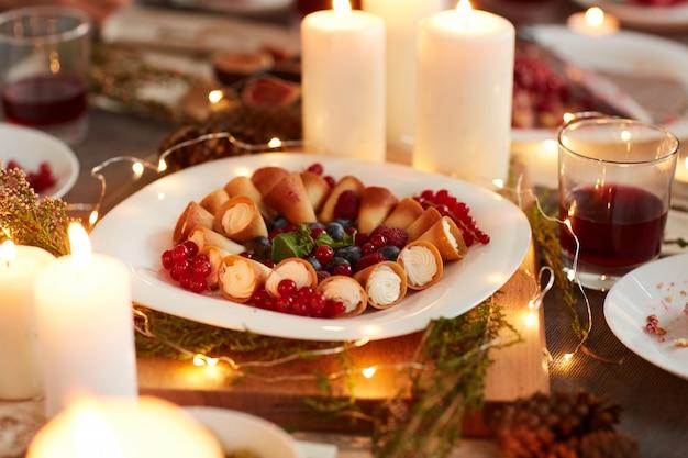 Dessert sur table de vacances