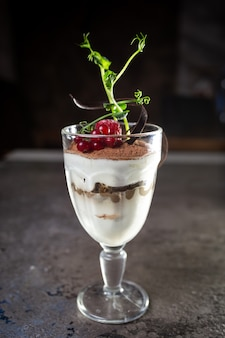 Dessert tiramisu dans un verre avec des baies. belle portion du plat