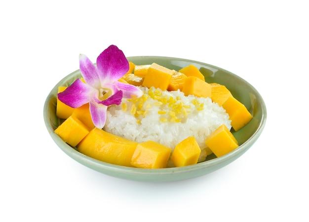 Dessert tropical de style thaï, riz gluant manger avec des mangues