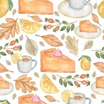 Desserts de tartes maison sans couture aquarelle