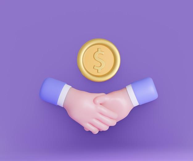 Dessin animé 3d serrer la main avec l'icône de pièces d'or sur fond violet. illustration de rendu 3d