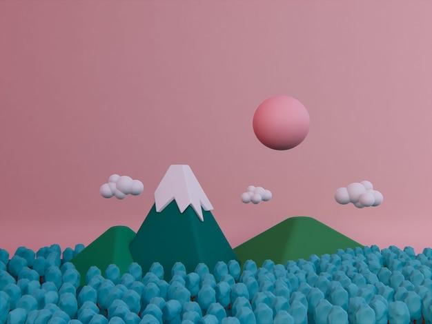 Dessin animé automne montagne fond 3d rendu.