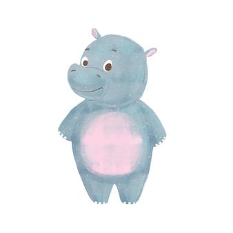 Dessin animé bébé hippo isolé
