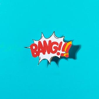 Dessin animé exclusif expression de balise étiquette de mot avec le mot bang sur fond bleu