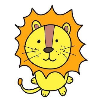 Dessin animé lion dessiné à la main, personnage de doodle comique de couleur