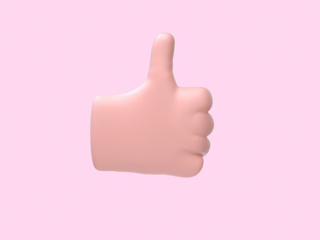Dessin animé main abstrait chanter / symbole fond rose rendu 3d