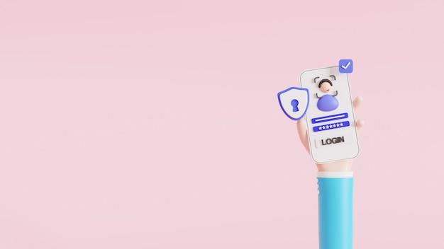 Dessin animé de la main, de la connexion et du visage vers un compte en ligne sur une application pour smartphone. interface utilisateur. login et mot de passe sécurisés. illustration 3d