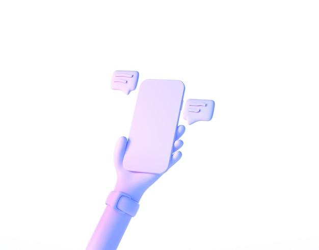 Dessin animé main tenant le smartphone avec message de chat