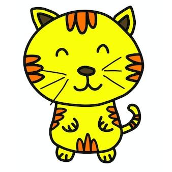 Dessin animé mignon chat jaune dessinés à la main sur fond blanc