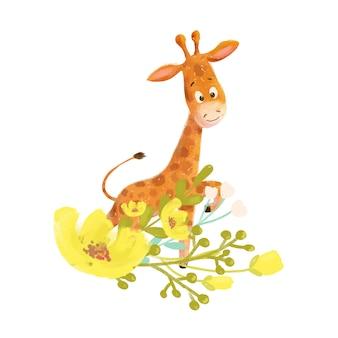 Dessin animé mignon petite girafe avec des fleurs