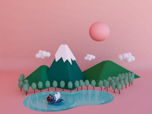 Dessin animé montagne fond 3d rendu.