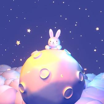 Dessin animé de rendu 3d petit lapin sur la lune