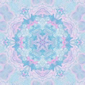 Dessin à l'aquarelle, images abstraites pour le fond. élément de design, couleurs pastel rose et bleu. fleurs géométriques, flou kaléidoscope