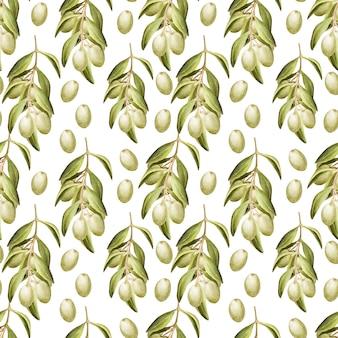 Dessin aquarelle modèle sans couture avec des feuilles, des fruits et de l'huile d'olive. huile et herbes aromatiques