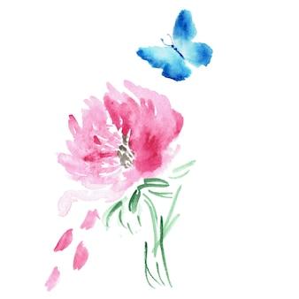 Dessin aquarelle papillon et fleur isolé sur blanc.