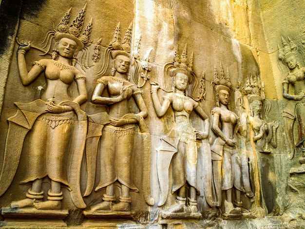 Dessin au trait angkor wat angkor thom cambodge