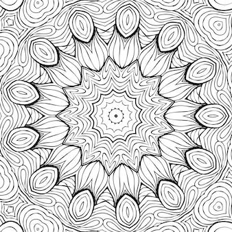 Dessin coloriage antistress, dessin de fleur symétrique noir et blanc. fond floral monochrome. ornement dessiné à la main avec des fleurs, livre de coloriage relaxant. dessin méditatif de mandala de boucles