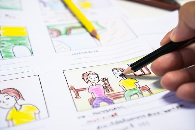 Dessin de concepteur mise en page vidéo de film de story-board pour la pré-production, animation d'illustration de dessin animé de développement pour le traitement de films multimédias sous forme de production de film de script affiché. concept de produit médiatique.