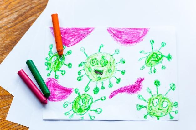 Dessin de coronavirus pour enfants de nombreux virus attaquent les crayons de couleur du corps humain, les crayons de couleur, la créativité des enfants, la création d'artisanat, la décoration de la maison, le temps avec les enfants, le développement des compétences, l'école, la maison