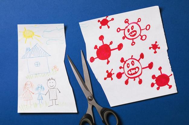 Dessin d'enfant représentant une famille et un coronavirus réduit de moitié