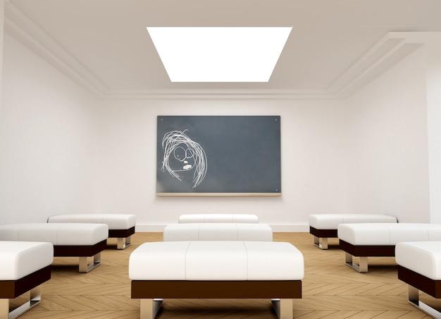 Un dessin d'enfant sur un tableau noir dans une salle de conférence
