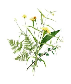 Dessin à la main bouquet de forêt aquarelle de fleurs sauvages feuilles et branches illustration isolé sur blanc parfait pour l'invitation de mariage d'été et le logo