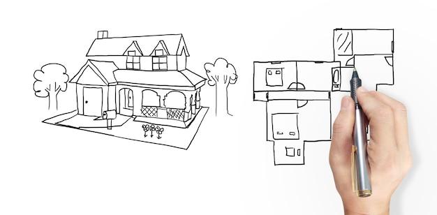 Dessin à la main du concept de maison de rêve dessiné par le designer