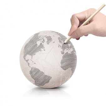 Dessin d'ombre sur papier globe terrestre