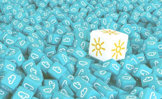 Dessin à partir de nombreux cubes dispersés avec des icônes de nuages et du grand cube avec l'image du soleil