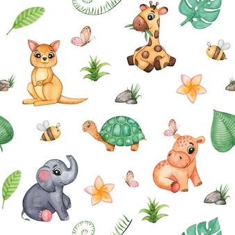 Dessin de petits animaux sauvages aquarelle