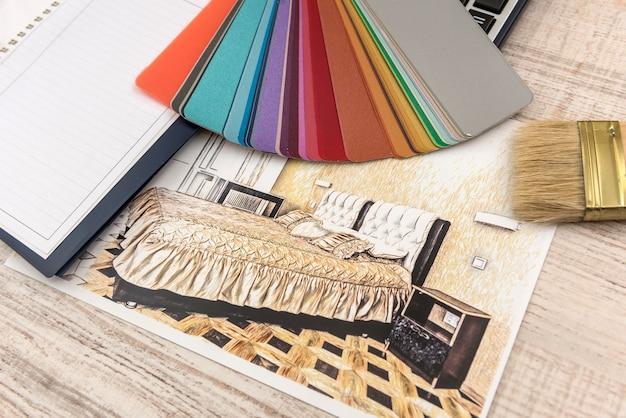 Dessin des plans d'esquisse des plans avec une palette de couleurs pour obtenir de l'aide.