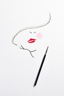 Dessin avec des produits de maquillage sur papier.