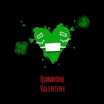 Dessin de slime coeur vert dans un masque médical de protection, concept de la saint-valentin.