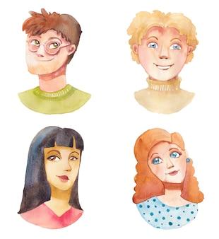 Dessinés à la main divers visages de garçon et de fille en style cartoon