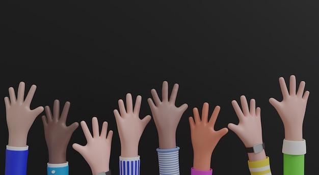 Dessins animés mains levées, isolé sur fond noir. avec espace de copie. illustration 3d.