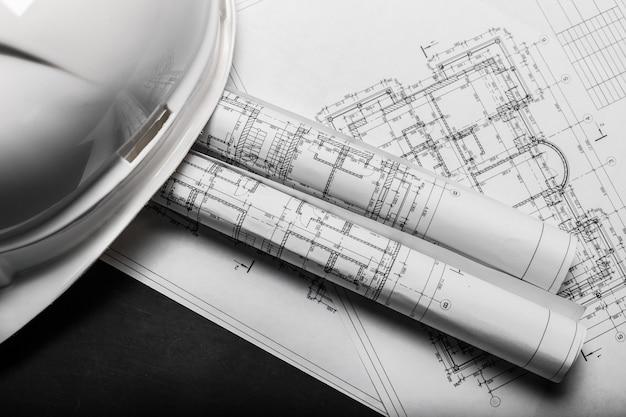 Dessins de planification de la construction sur fond noir