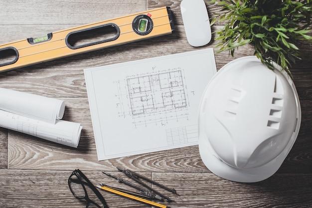 Dessins de projet et outils, gros plan
