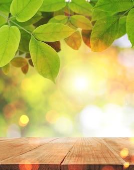 Dessus de table avec abstrait feuille verte et fond clair du soleil.