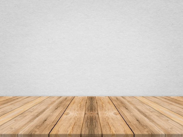 Dessus de table en bois au mur de texture de papier tropical, modèle simulé pour l'affichage du produit, présentation d'affaires.