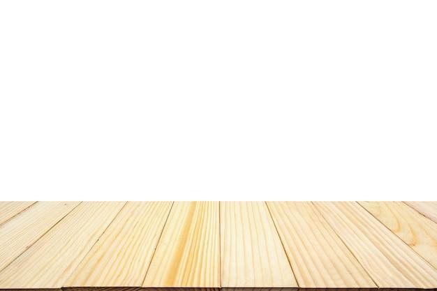 Dessus de table en bois isolé sur blanc