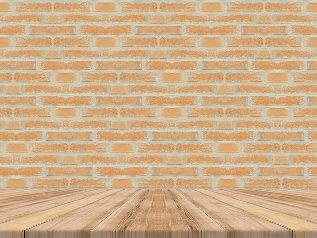 Dessus de table en bois tropical vide avec mur de briques, mock up background