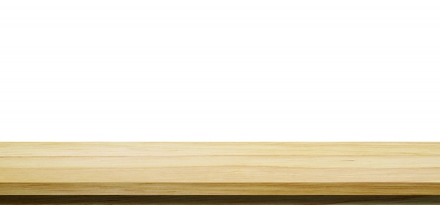 Dessus de table en bois vide, bureau isolé sur fond blanc