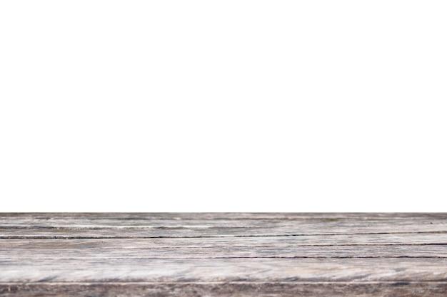 Dessus de table en bois vide isolé sur blanc