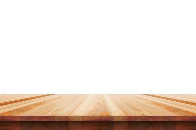 Dessus de table en bois vide isolé sur fond blanc, utilisé pour l'affichage ou le montage de vos produits