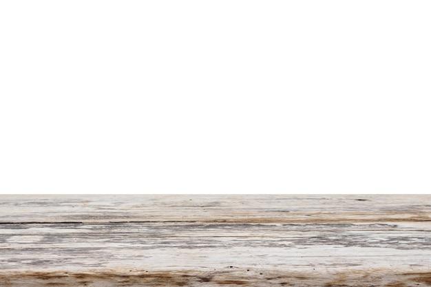 Dessus de table en bois vide isolé sur fond blanc